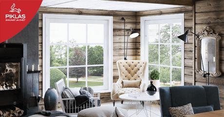 Valkoiset puualumiini-ikkunat